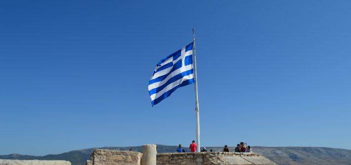 Drapeau Grèce pris en photo à l'acropole d'Athènes