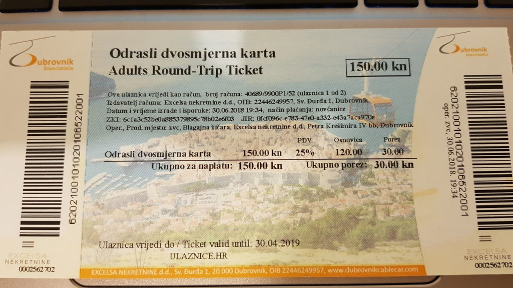 dubrovnik cable car ticket